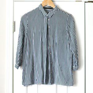 Zara navy white stripe dress shirt 3/4 sleeves
